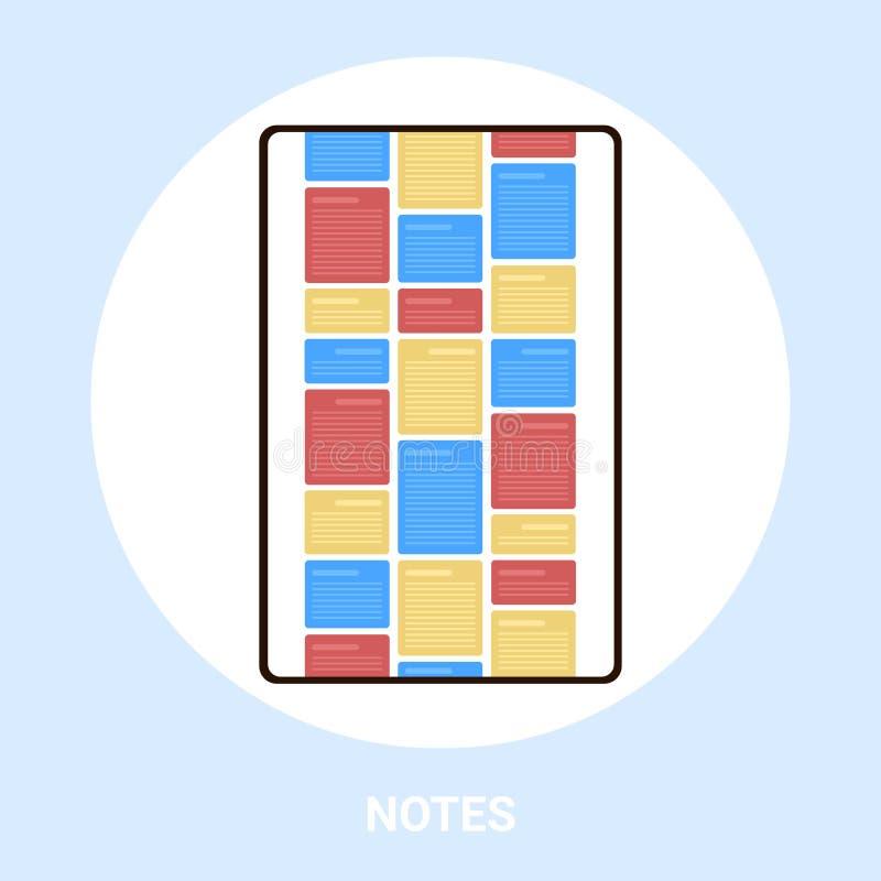 Pantalla de Tablet PC con notas coloridas aplicación de equipo creativo interfaz de usuario desarrollo recordatorio de organizado ilustración del vector