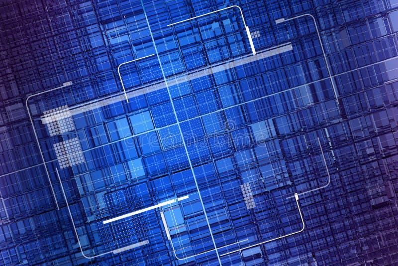 Pantalla de visualización azul de la red de los datos stock de ilustración