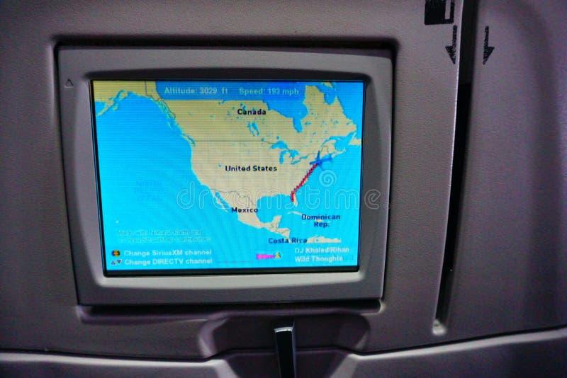 Pantalla del asiento de línea aérea de Jetblue foto de archivo