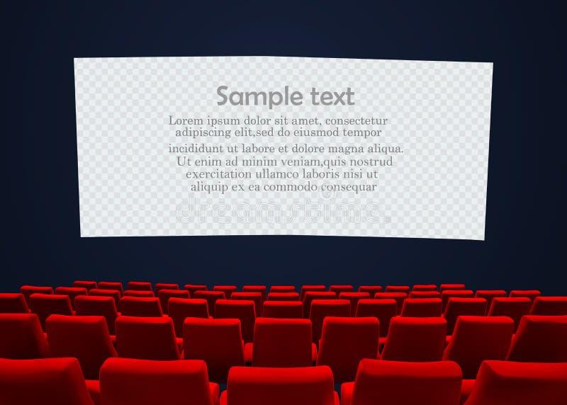 Pantalla del cine con los asientos rojos Diseño del cartel de la premier de la película Fondo del vector libre illustration