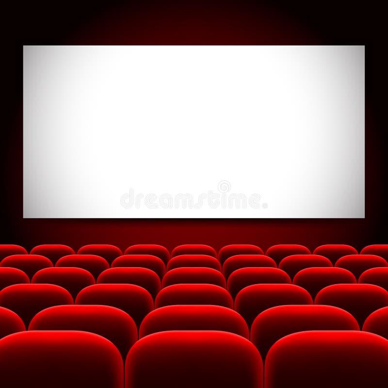 Pantalla Del Cine Y Fondo Rojo Del Vector De Los Asientos