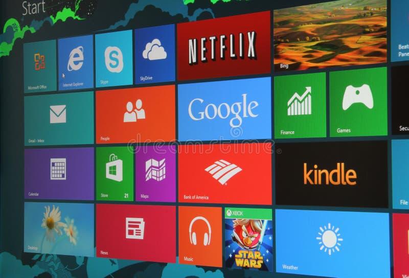 Pantalla del comienzo de Windows 8 fotos de archivo libres de regalías