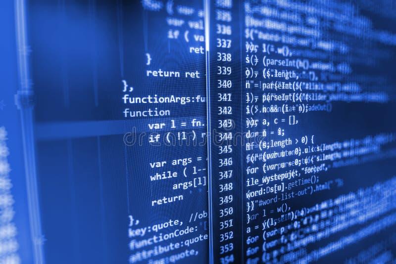 Pantalla del espacio de trabajo del desarrollador de software imágenes de archivo libres de regalías