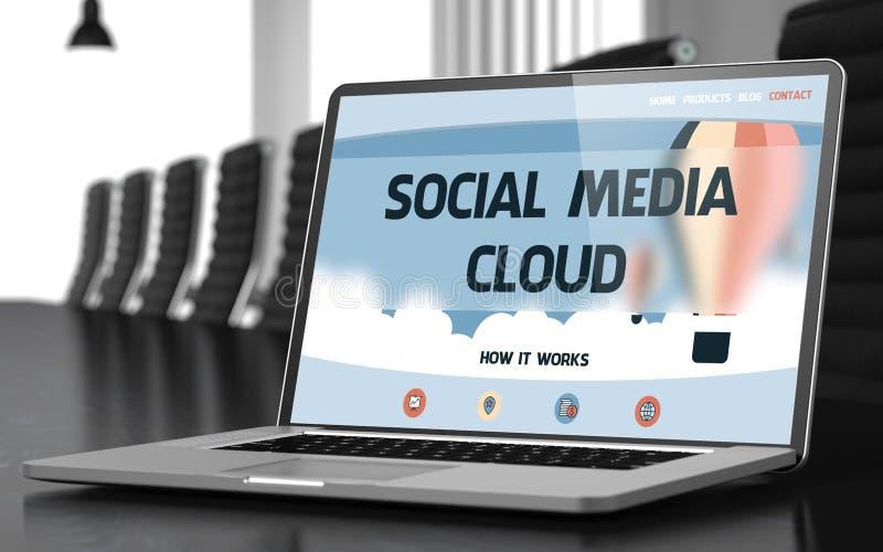 Pantalla del ordenador portátil con medios concepto social de la nube imágenes de archivo libres de regalías