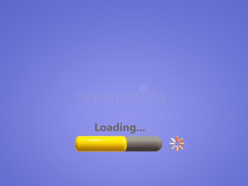 Pantalla del proceso de cargamento en fondo azul claro Cargue el proceso más que a medias stock de ilustración