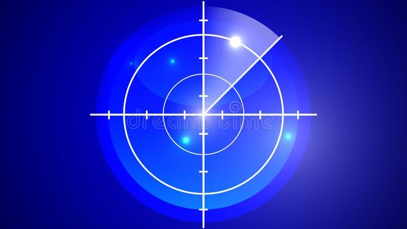 Pantalla del sonar para el submarino y la nave ilustración del vector