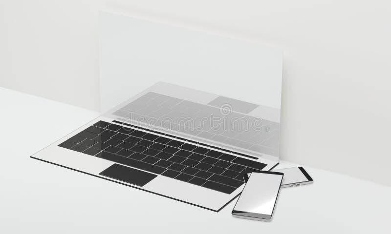 Pantalla en blanco 3d-illustration del ordenador portátil del cuaderno del ordenador libre illustration