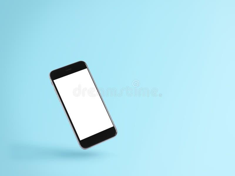 Pantalla en blanco del teléfono en fondo azul fotografía de archivo libre de regalías