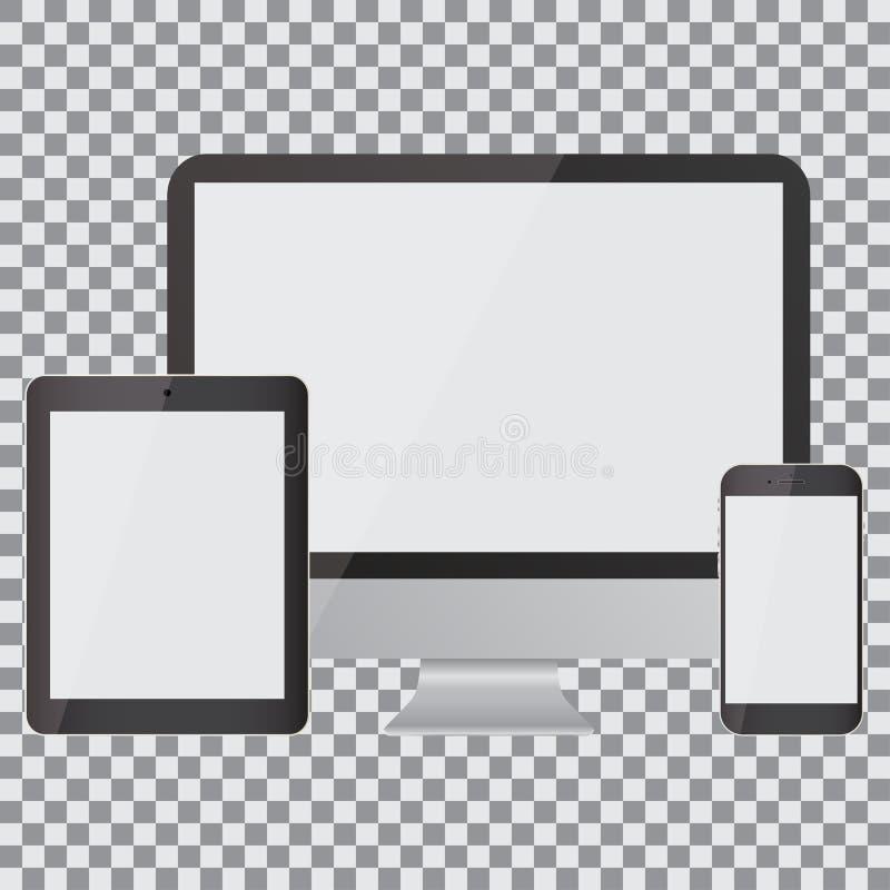 Pantalla en blanco Sistema de monitor, de tableta y de smartphone realistas en un fondo transparente stock de ilustración