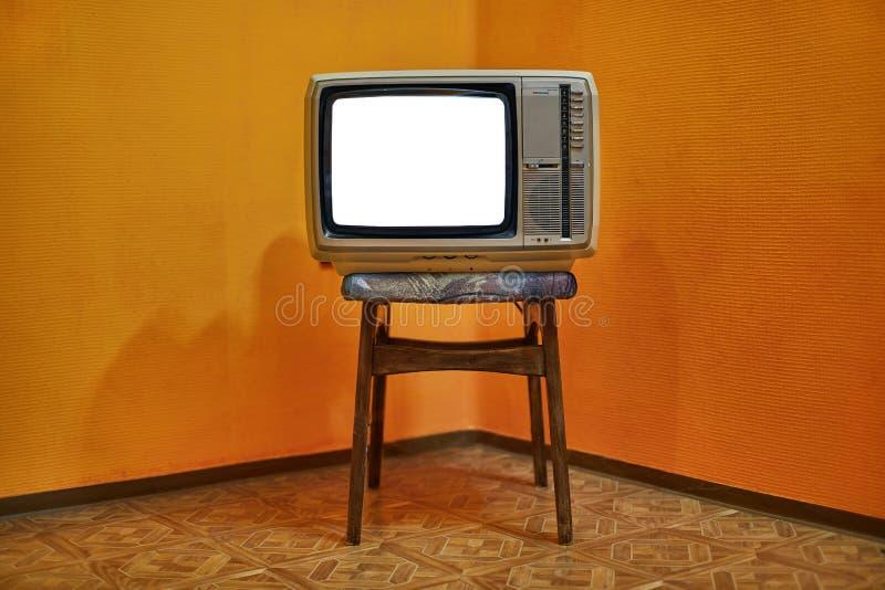 Pantalla en blanco vieja de la TV imagen de archivo libre de regalías
