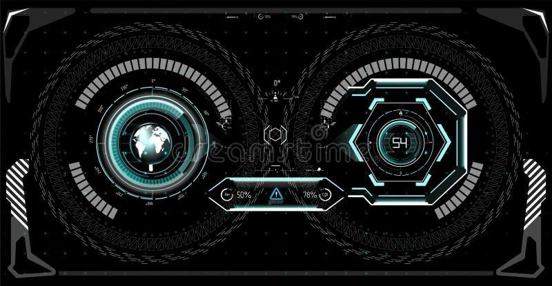 Pantalla futurista del hud de la tecnología Ciencia ficción táctica VR Dislpay de la visión HUD UI Diseño de exhibición futurista ilustración del vector