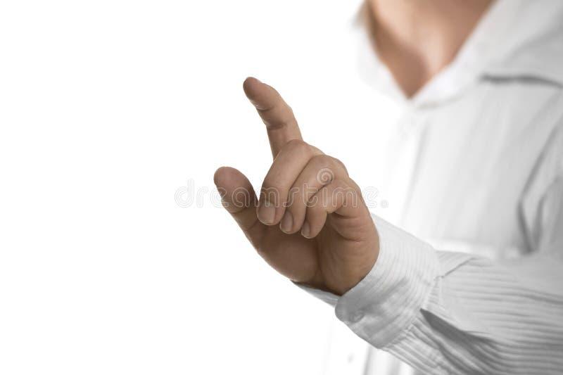 Pantalla invisible conmovedora del finger fotografía de archivo libre de regalías