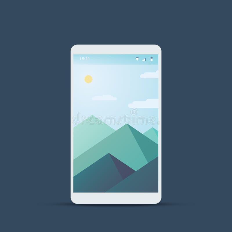 Pantalla móvil de la interfaz de usuario con el fondo material del diseño Contexto del paisaje de las montañas y tiempo del veran ilustración del vector