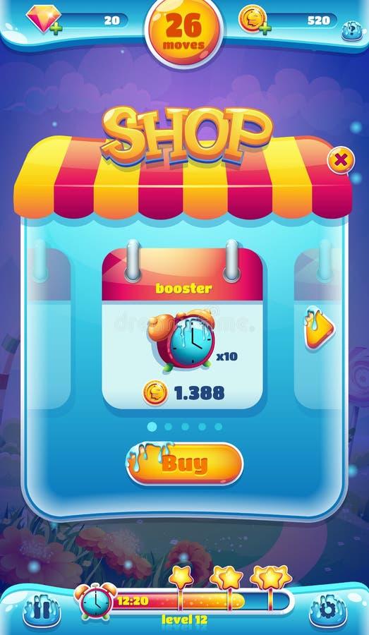 Pantalla móvil de la tienda del GUI del mundo dulce para los juegos video del web libre illustration