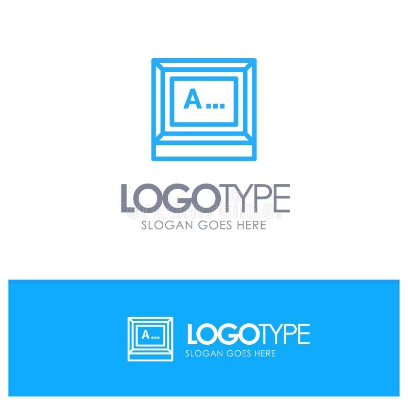Pantalla, mecanografiando, texto, logotipo azul del esquema del monitor con el lugar para el tagline stock de ilustración