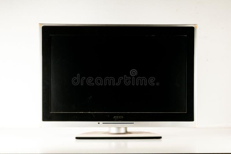 Pantalla negra del LCD TV imagen de archivo