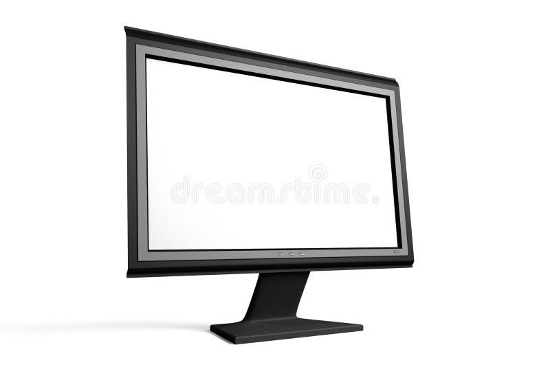 Pantalla plana ancha TV/Monitor con la pantalla en blanco ilustración del vector