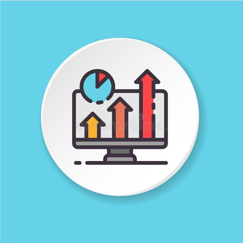 Pantalla plana del negocio del icono del vector Botón para el web o el app móvil stock de ilustración