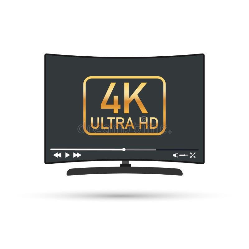 Pantalla plana moderna TV con la definición ultra alta, ultra formato de pantalla del hd 4k TV con el jugador en línea Ilustració ilustración del vector