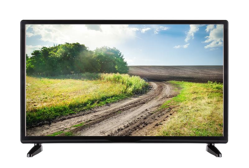 Pantalla plana TV con la alta resolución y el paisaje con el camino foto de archivo libre de regalías