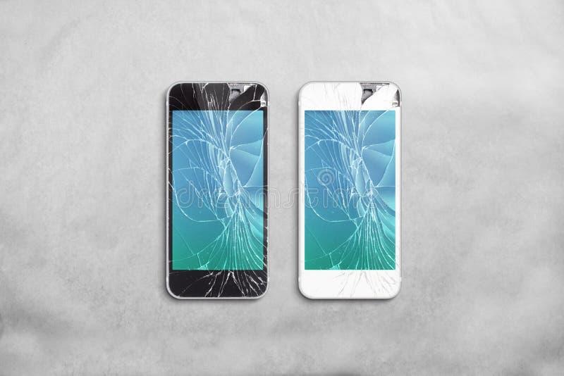 Pantalla quebrada del teléfono móvil, negro, blanco, trayectoria de recortes imagenes de archivo