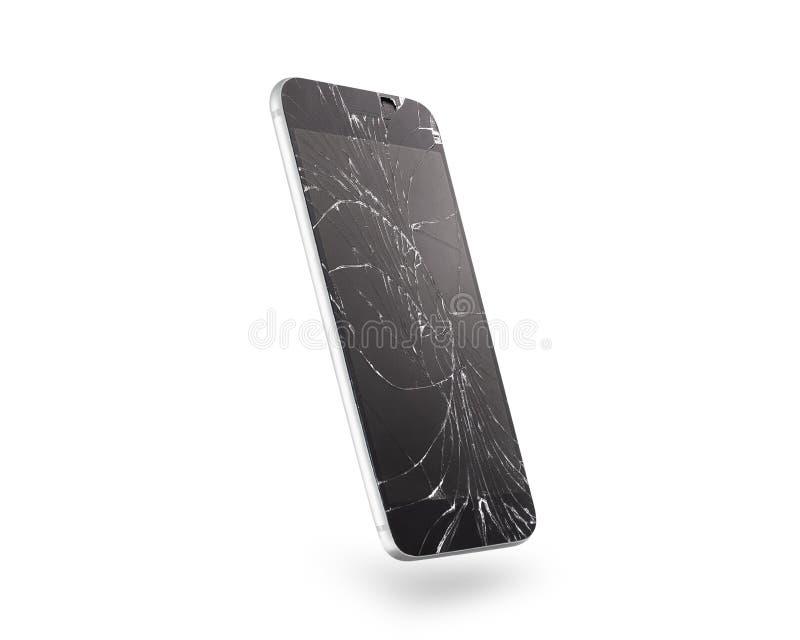 Pantalla quebrada del teléfono móvil, vista lateral, aislada, trayectoria de recortes fotografía de archivo libre de regalías