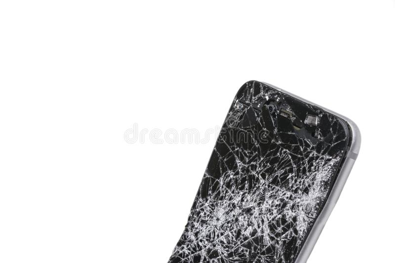Pantalla rota smartphone móvil moderno y daños Teléfono móvil estrellado y rasguño Dispositivo destruido Artilugio del choque, re foto de archivo libre de regalías