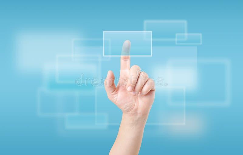 Pantalla táctil conmovedora del dedo fotos de archivo libres de regalías