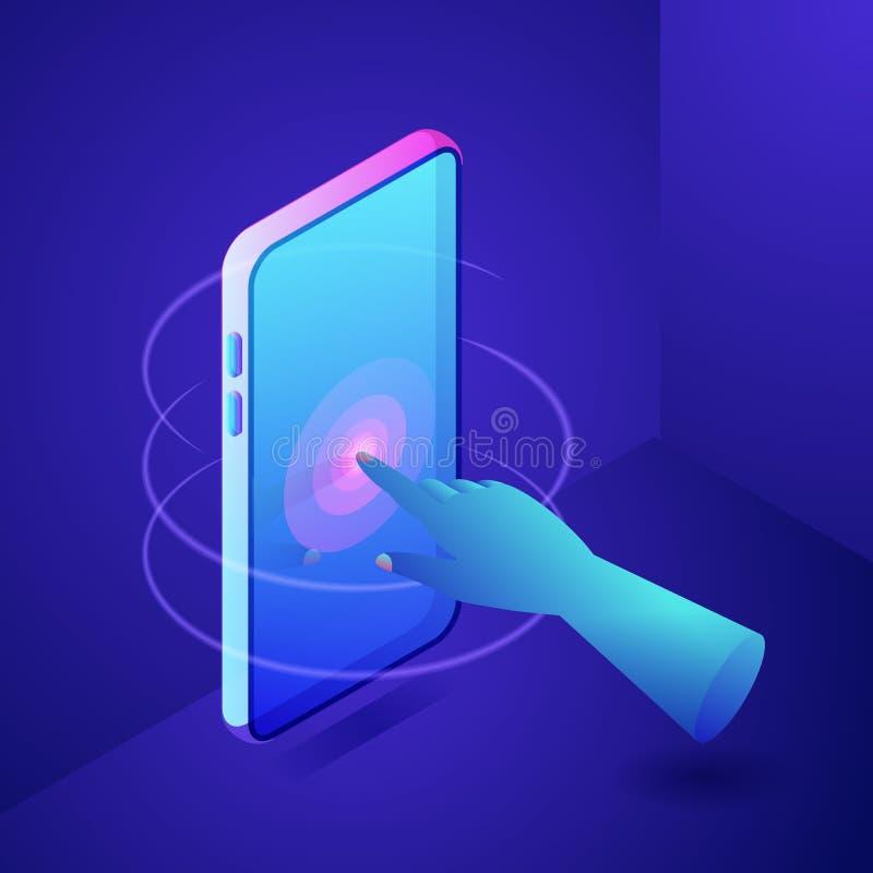 Pantalla táctil de la mano en el teléfono Concepto interactivo de la tecnología de Digitaces Ejemplo isométrico de neón de las pe ilustración del vector