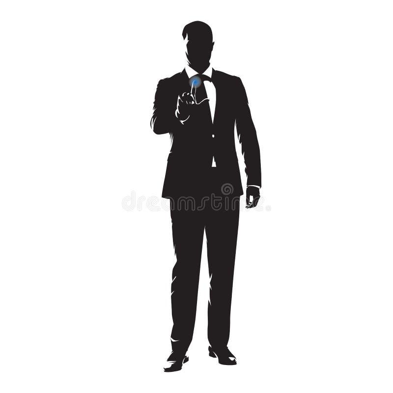 Pantalla táctil del hombre de negocios, ejemplo del vector stock de ilustración