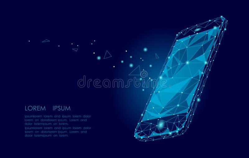 Pantalla táctil polivinílica baja del móvil del smartphone El diseño geométrico poligonal del triángulo conectó el cielo estrella ilustración del vector