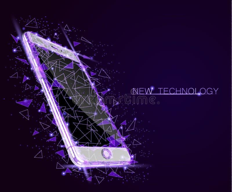 Pantalla táctil polivinílica baja del móvil del smartphone El diseño geométrico poligonal del triángulo conectó el cielo estrella libre illustration