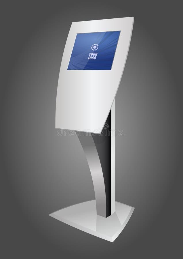 Pantalla táctil terminal interactiva promocional blanca del soporte del quiosco de información ilustración del vector
