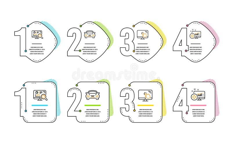 Pantalla t?ctil, analytics de Seo y sistema de los iconos del coche Muestra m?dica del analytics Ayuda de la web, estad?sticas, t ilustración del vector