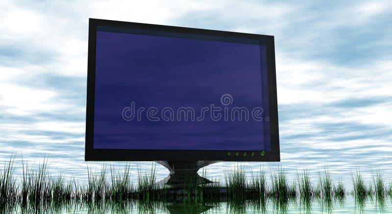 Pantalla TV en paisaje abstracto imagenes de archivo