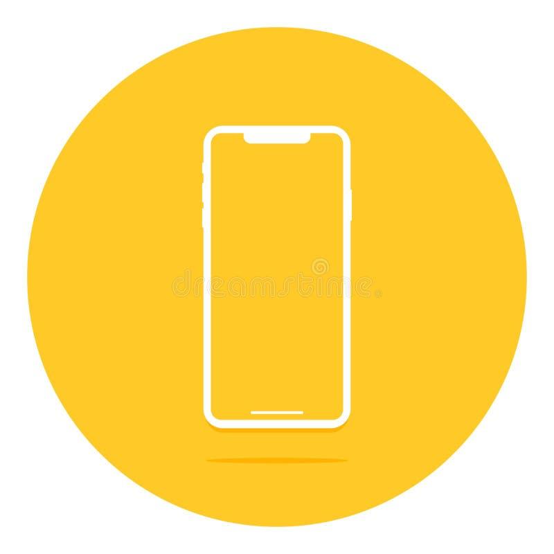 Pantalla vac?a Smartphone con la reflexi?n y la sombra Ilustraci?n del vector Dise?o plano de nuevas tecnolog?as stock de ilustración