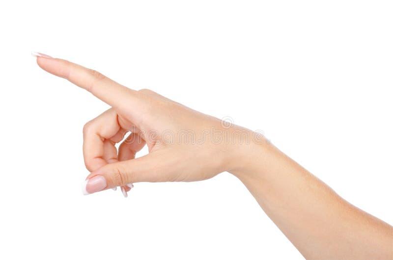 Pantalla virtual conmovedora de la mano de la mujer aislada imagen de archivo libre de regalías