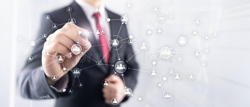 Pantalla virtual de la exposición doble de las técnicas mixtas de la estructura de organización corporativa del concepto de la ge stock de ilustración