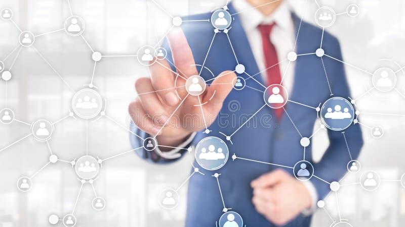 Pantalla virtual de la exposición doble de las técnicas mixtas de la estructura de organización corporativa del concepto de la ge ilustración del vector