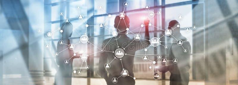 Pantalla virtual de la exposición doble de las técnicas mixtas de la estructura de organización corporativa del concepto de la ge imagen de archivo libre de regalías