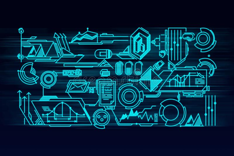 Pantalla virtual del panel con la tecnología digital de los datos de alta tecnología stock de ilustración