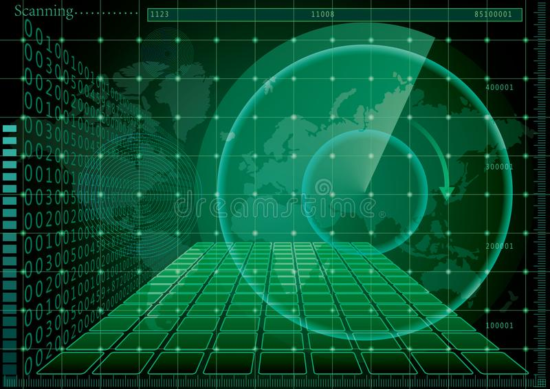 Pantalla y mapa del mundo verdes de radar stock de ilustración