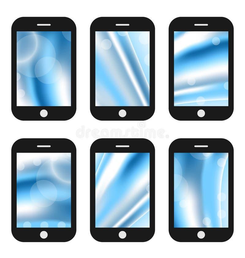 Pantallas abstractas del chapoteo para los teléfonos móviles app con diverso wav libre illustration