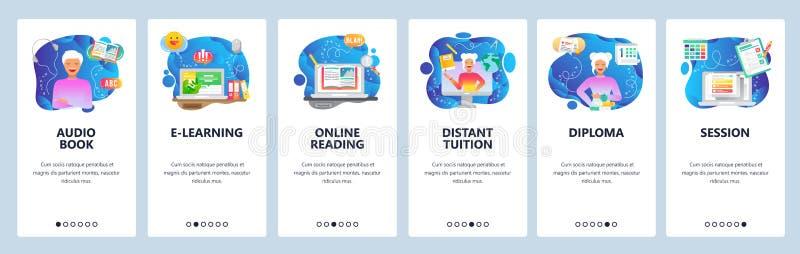 Pantallas de inicio de aplicaciones móviles. Educación en línea, biblioteca digital, libro de audio, tutor distante, lectura en stock de ilustración
