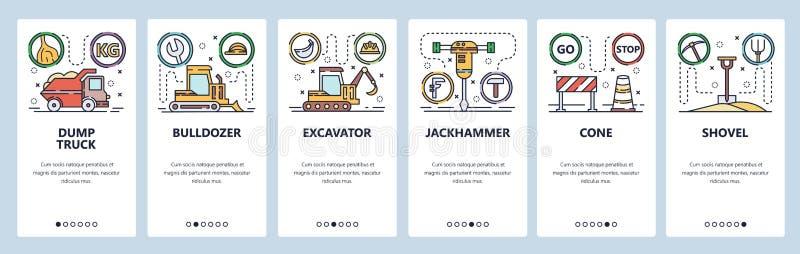 Pantallas de inicio de aplicaciones móviles Iconos de la industria de la construcción, máquinas pesadas, camiones de volcado, exc libre illustration