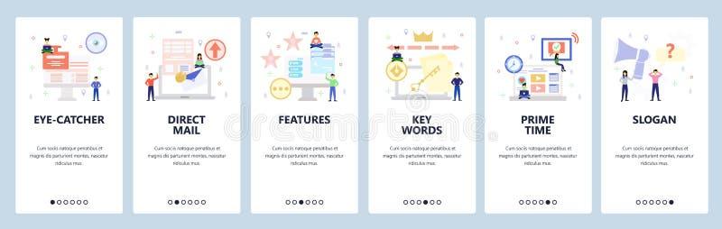 Pantallas de inicio de aplicaciones móviles Marketing de vídeo, promoción, correo directo, palabras clave Plantilla de banner vec libre illustration
