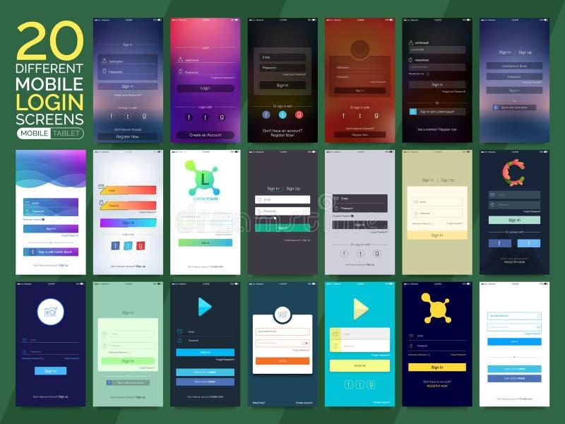 Pantallas de inicio de sesión móviles para los smartphones y las tabletas ilustración del vector