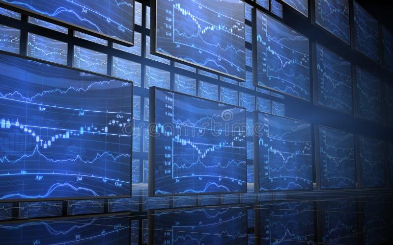 Pantallas de la carta del mercado de acción ilustración del vector