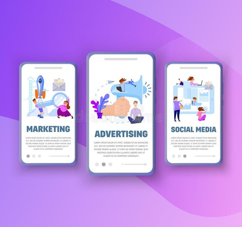 Pantallas de Onboarding - comercializando, haciendo publicidad, medios sociales stock de ilustración