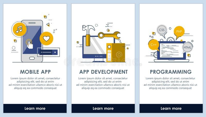 Pantallas del diseño del app plano del desarrollo de aplicaciones y de la programación Interfaz de usuario moderna UX, plantilla  stock de ilustración